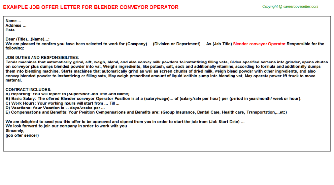 blender conveyor operator offer letter template