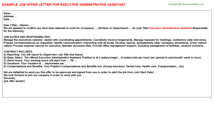 Executive Administrative Assistant Offer Letter Template