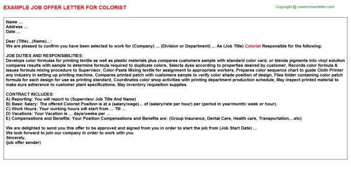 Colorist Offer Letter Template
