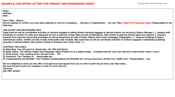 freight and passenger agent offer letter template