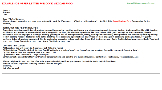cook mexican food offer letter template