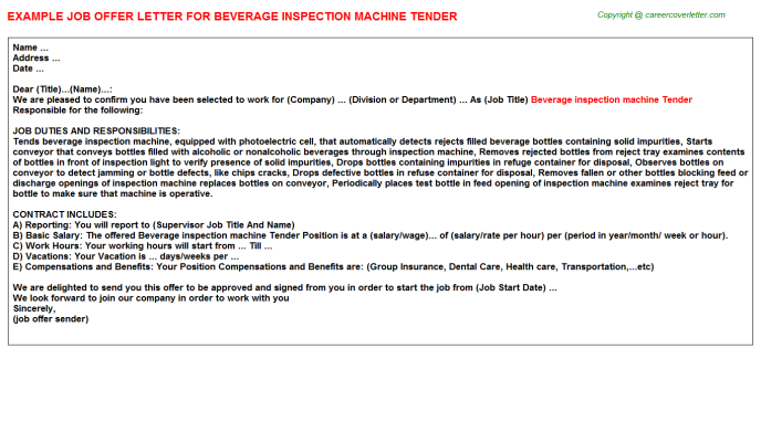 beverage inspection machine tender offer letter template