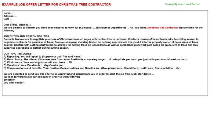 Christmas Tree Contractor Job Offer Letter