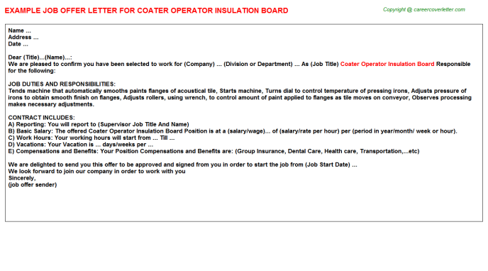 coater operator insulation board offer letter template