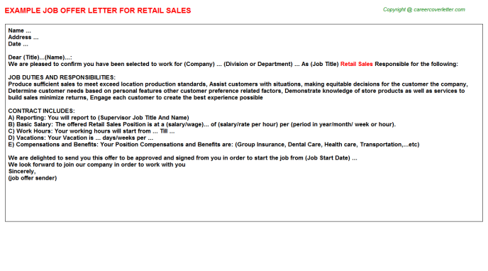 Retail Sales Offer Letter Template