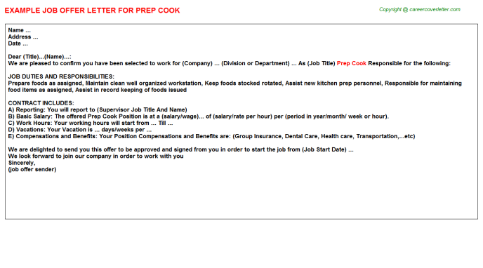 Prep Cook Offer Letter Template