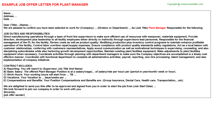 Plant Manager Offer Letter Template