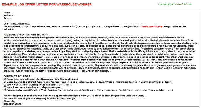 Warehouse Worker Job Offer Letter