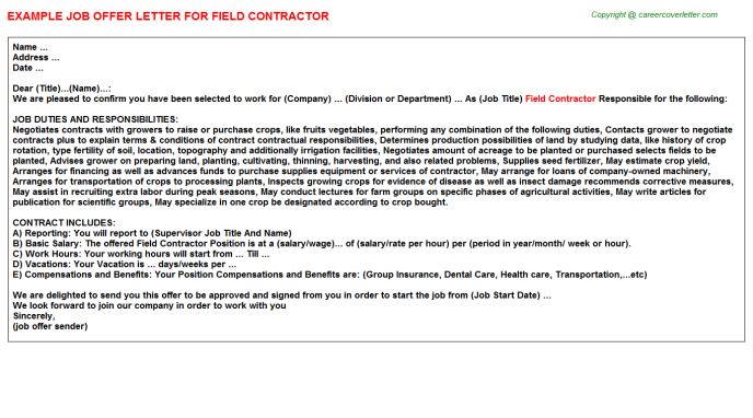 independent contractor offer letters