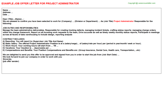 Project Administrator Offer Letter Template