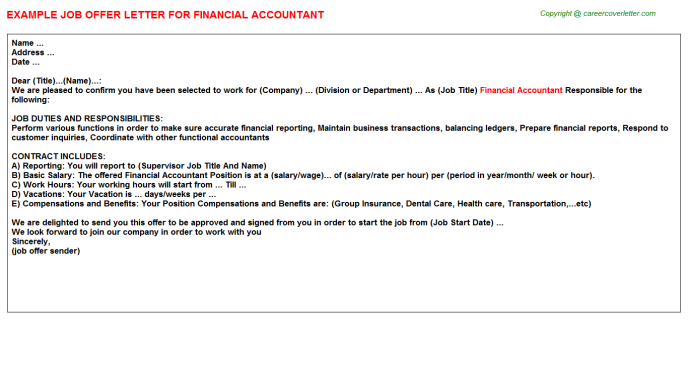 Financial Accountant Offer Letter Template