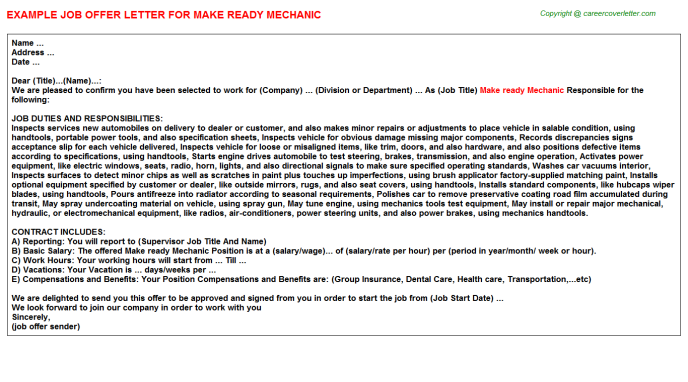 Make ready mechanic job offer letter (#20043)