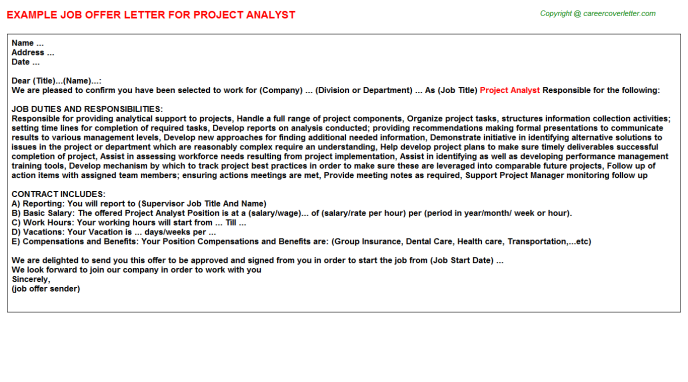 Project Analyst Offer Letter Template