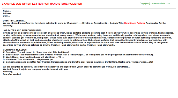 Hand Stone Polisher Offer Letter Template