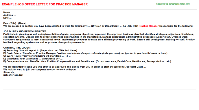 Practice Manager Offer Letter Template