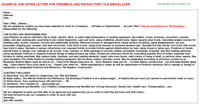Firebrick And Refractory Tile Bricklayer Offer Letter Template