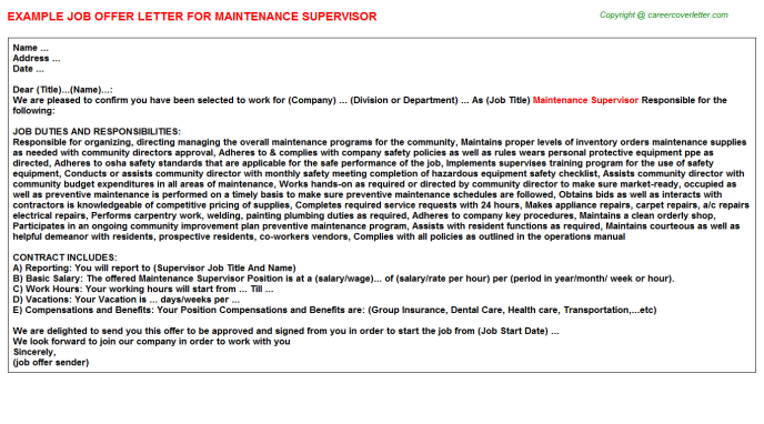 Maintenance Supervisor Offer Letter Template