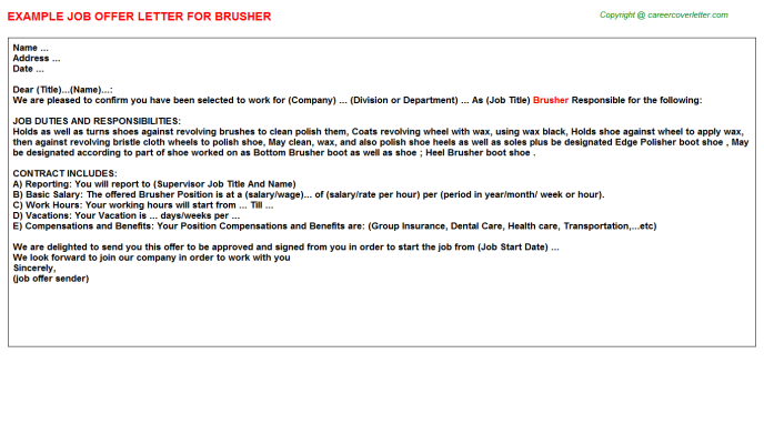 Brusher Offer Letter Template