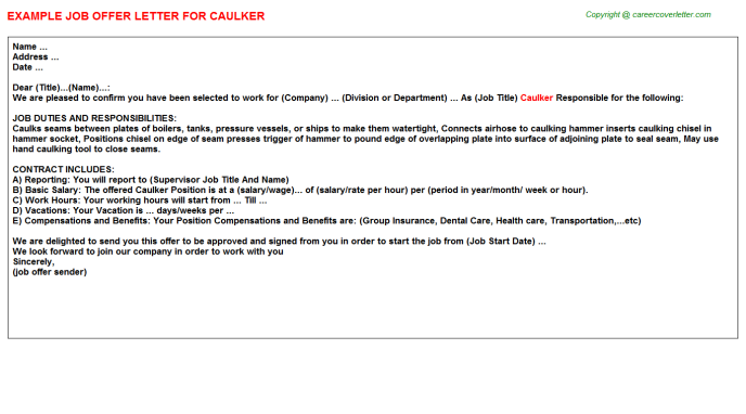 Caulker Job Offer Letter Template