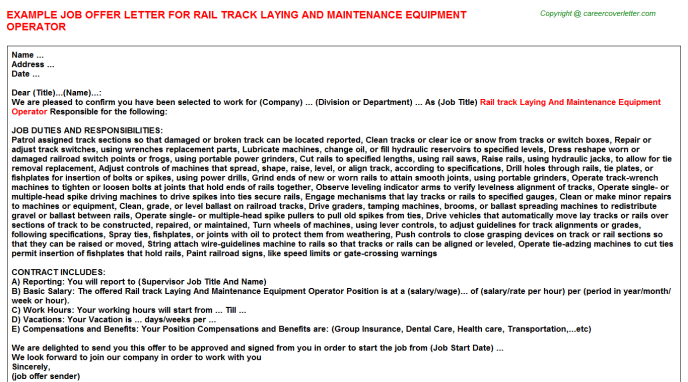Rail Track Laying And Maintenance Equipment Operator Offer Letter Template