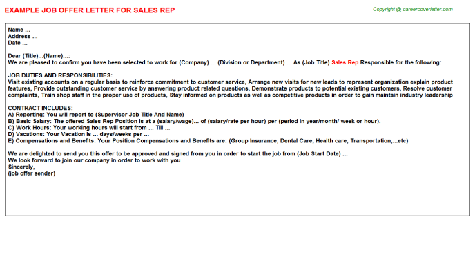 Sales Rep Offer Letter Template