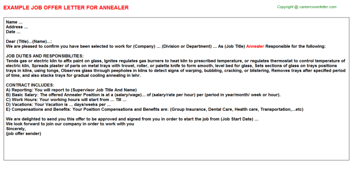 Annealer Offer Letter Template