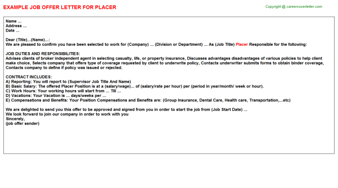 Placer Offer Letter Template