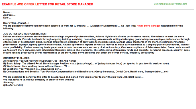 Retail Store Manager Offer Letter Template