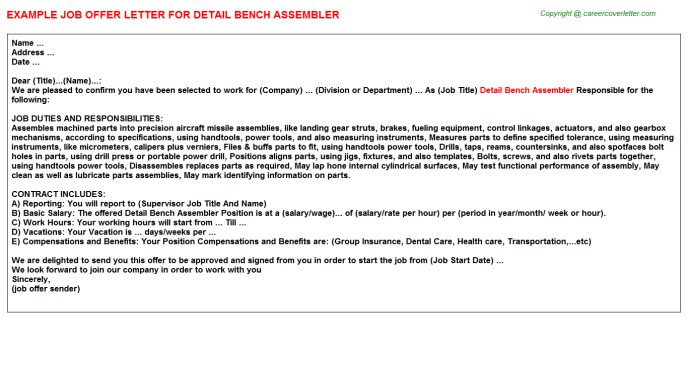 Detail Bench Assembler Job Offer Letter Template