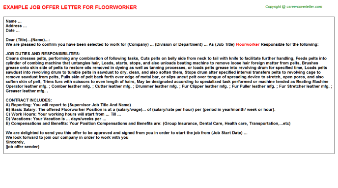 Floorworker Offer Letter Template
