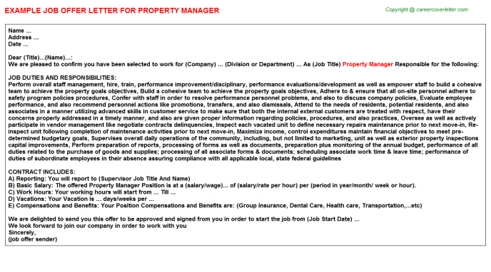Property Manager Offer Letter Template