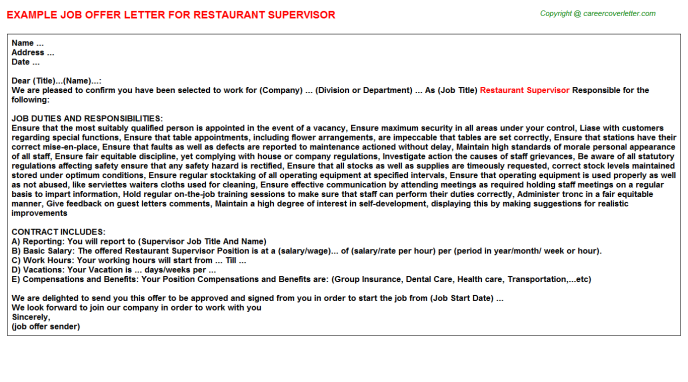 Restaurant Supervisor Offer Letter Template