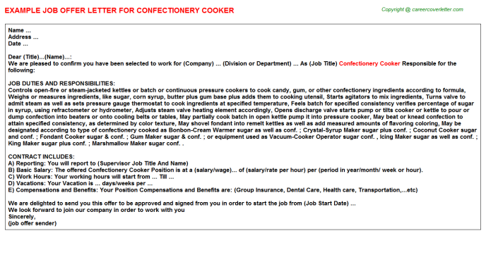 confectionery cooker offer letter