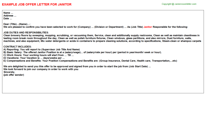 Janitor Job Offer Letter Template
