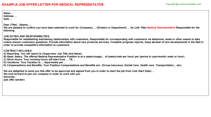 Medical Representative Offer Letter Template