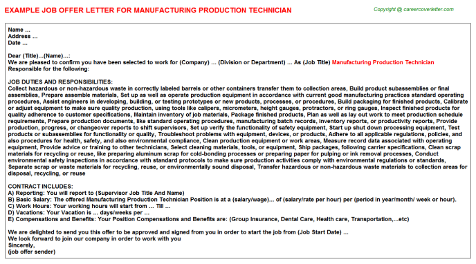 Manufacturing Production Technician Offer Letter Template