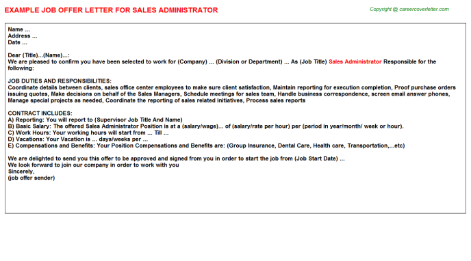 Sales Administrator Offer Letter Template