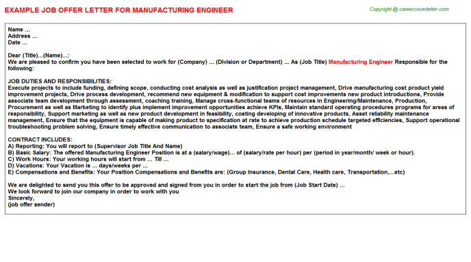 Manufacturing Engineer Offer Letter Template