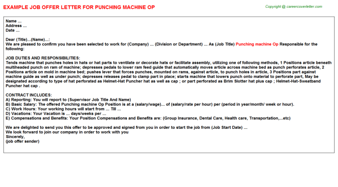 Punching Machine Op Offer Letter Template