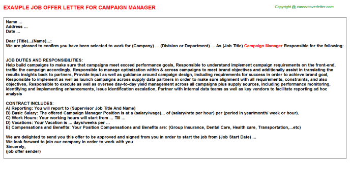 Campaign Manager Offer Letter Template