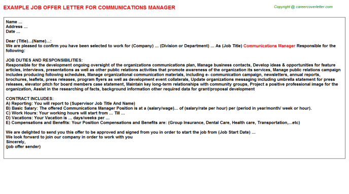 Communications Manager Offer Letter Template