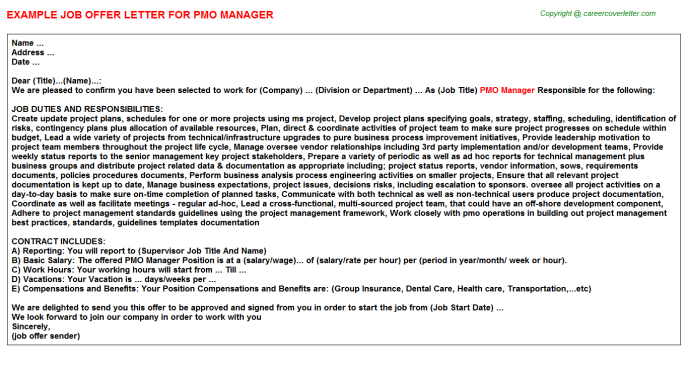 Pmo Manager Offer Letter Template