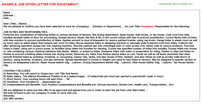 Roustabout Job Offer Letter Template