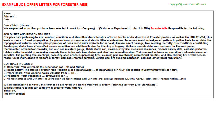 forester aide offer letter template