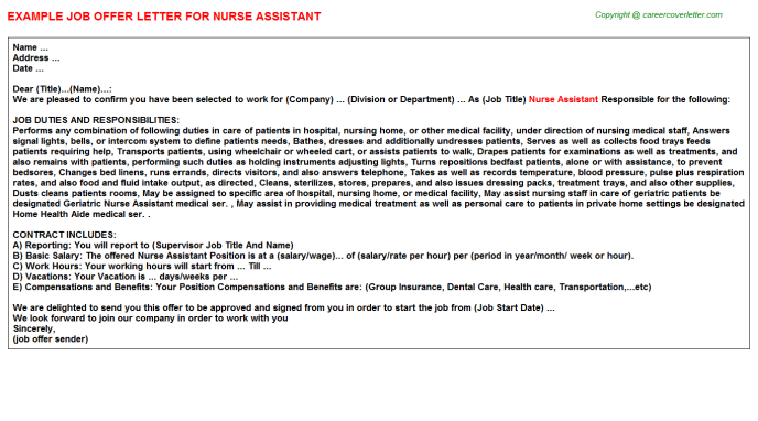 Nurse Assistant Offer Letter Template
