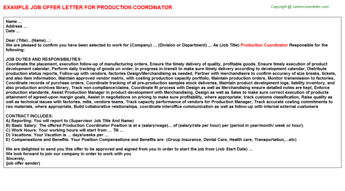Production Coordinator Offer Letter Template