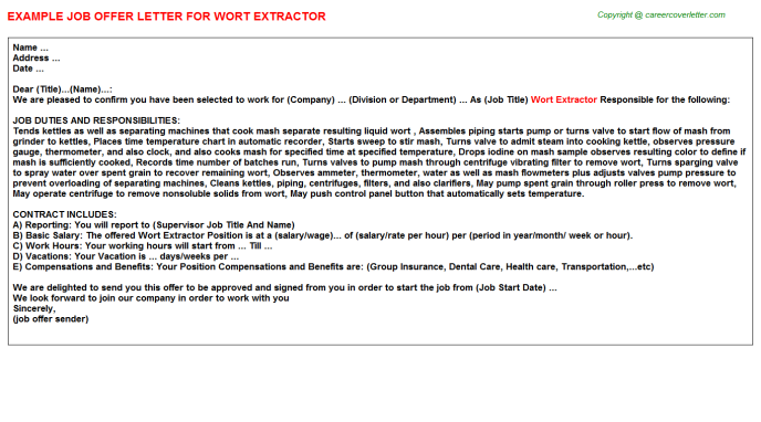 Wort Extractor Offer Letter Template