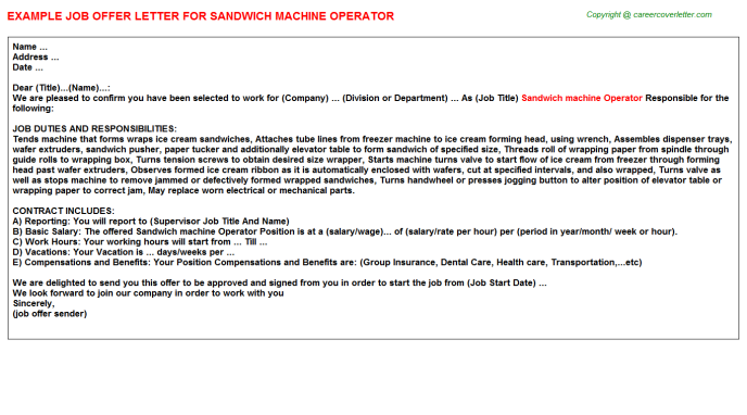 sandwich machine operator offer letter template