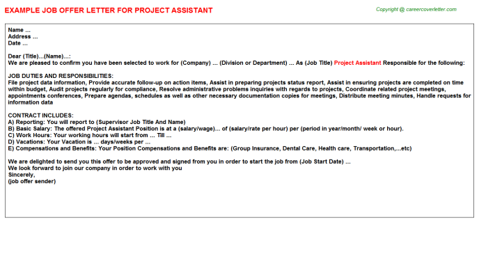 Project Assistant Offer Letter Template