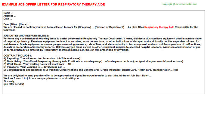 Respiratory therapy Aide Offer Letter Template